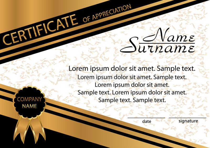 Gold and black template certificate of appreciation elegant bac download gold and black template certificate of appreciation elegant bac stock vector illustration of yadclub Image collections