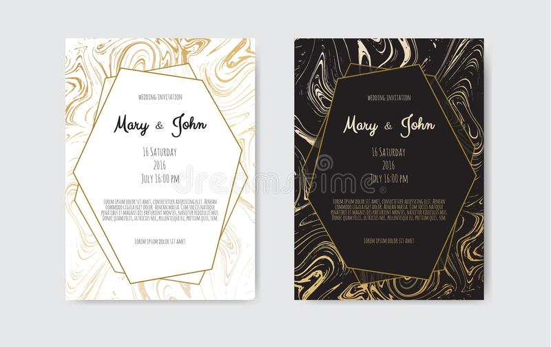 Gold, black, white marble template. Trendy pattern, graphic poster, geometric brochure, cards. vector illustration