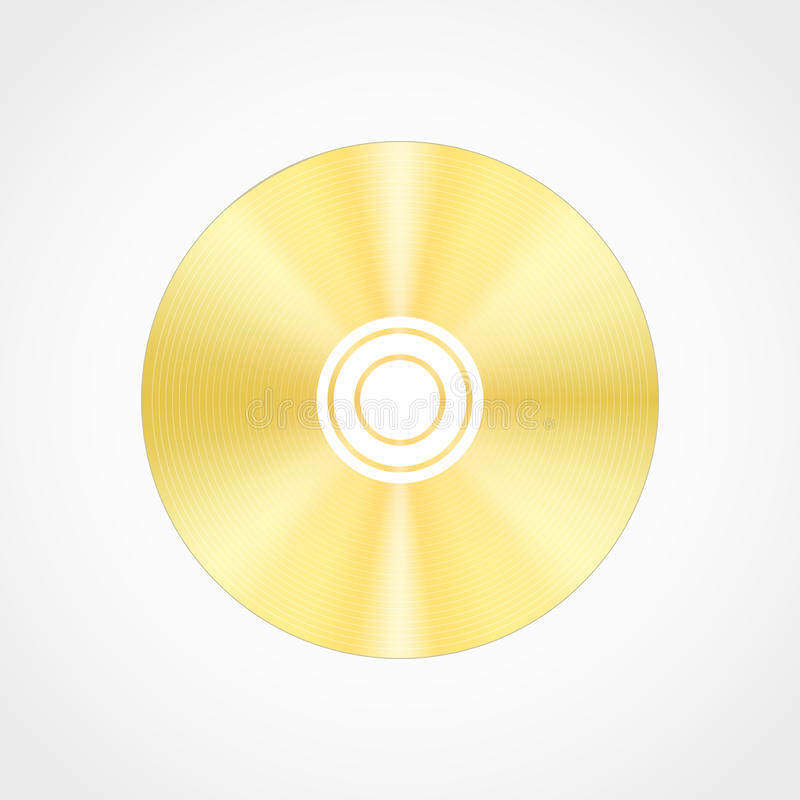 Gold blank compact disc. Vector realistic gold blank compact disc CD or DVD isolated on a white background with shadow.Template vector illustration
