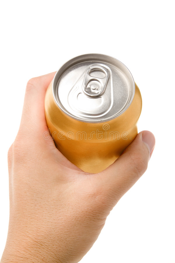 Gold blank soda can. Blank soda can with white background royalty free stock photos