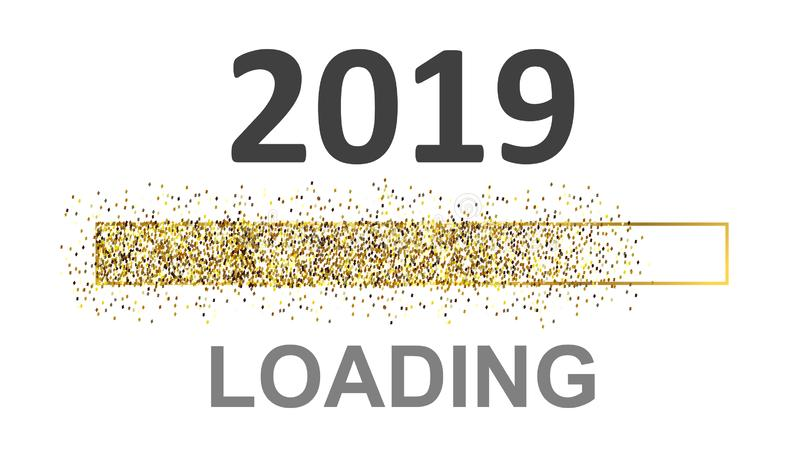 Gold Blaster Load Bar 2019. Expectation of the holiday – for stock. Gold Blaster Load Bar 2019. Expectation of the holiday – for stock stock illustration