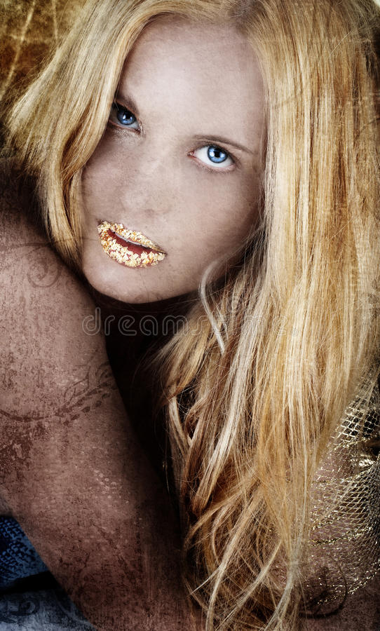 Download Gold Blond Woman On Grunge. Stock Photo - Image: 9412692