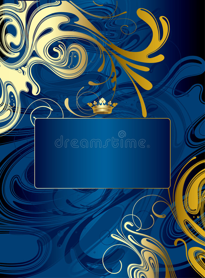 Gold-blue abstract background stock illustration