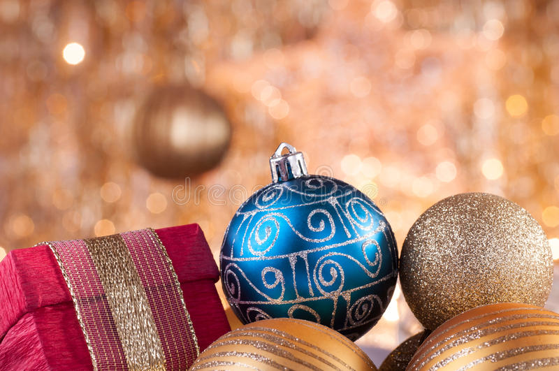 Download Gold And Blue Christmas Baubles And Red Box Stock Image - Image: 27475719