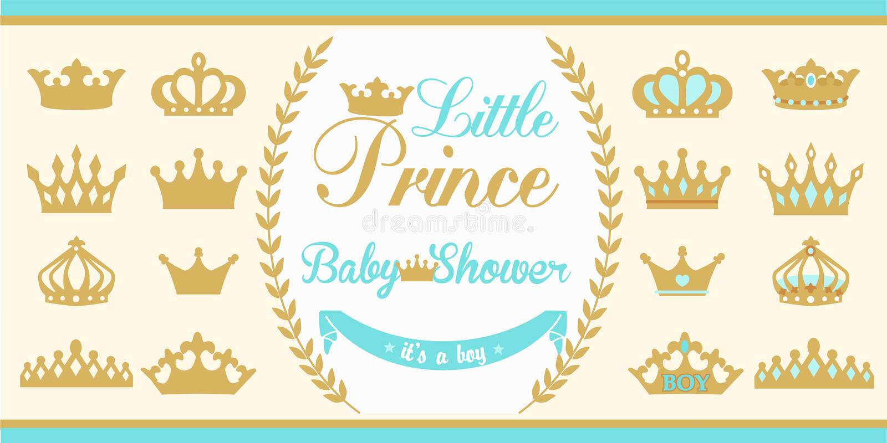 Gold and blue crowns set. Little prince design elements. stock illustration