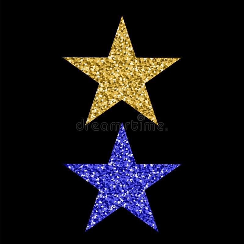 Gold Blue Glitter Star vector illustration