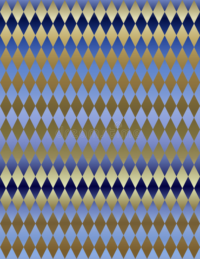 Gold Blue Metallic Harlequin background wallpaper stock illustration