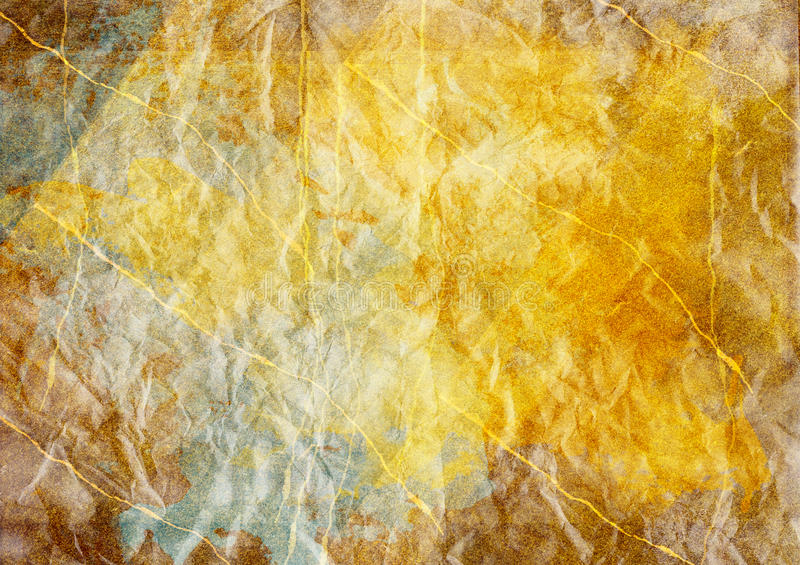 Gold and Blue Parchment Paper Texture Background. Golden brown blue and beige hand-painted parchment paper with visible brush strokes, background texture stock photography