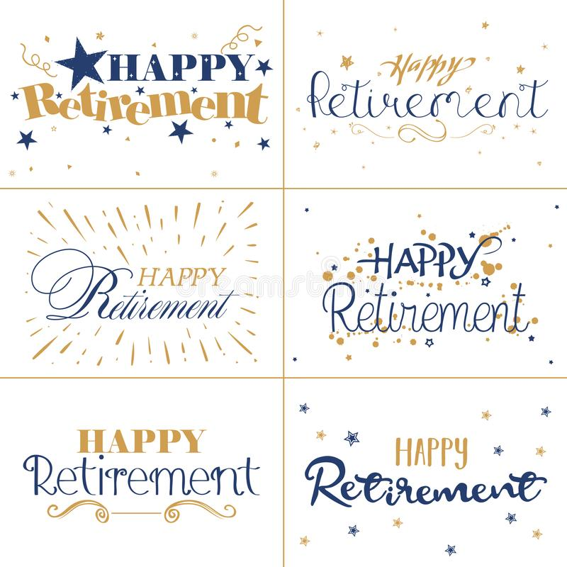 Gold and blue typography design of Happy Retirement text. On an isolated white background vector illustration