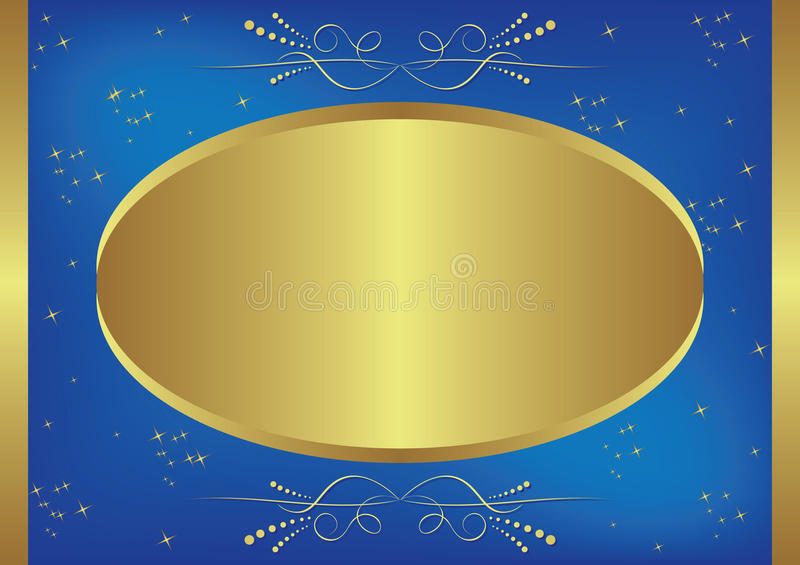 Gold and blue vector card with stars vector illustration
