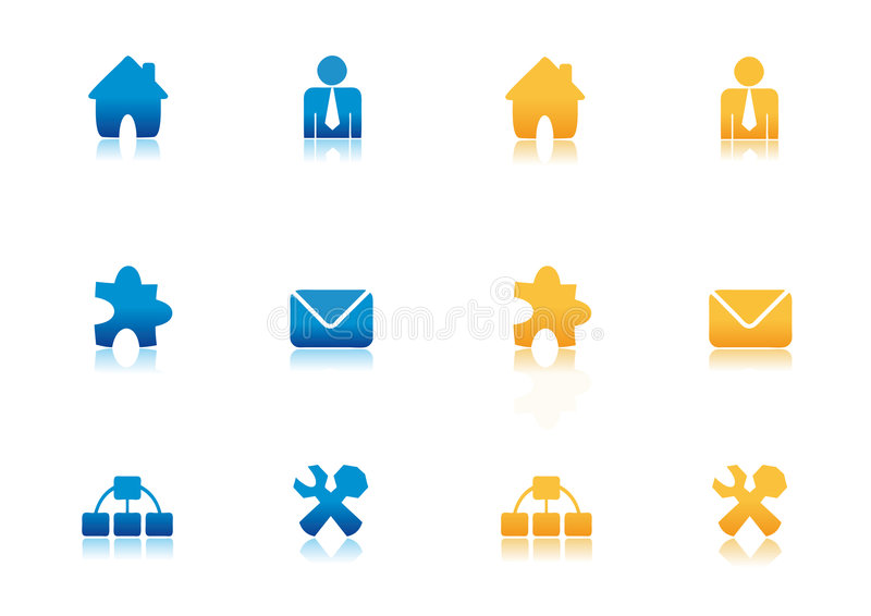 Gold and Blue Web Icon Set. With reflection royalty free illustration