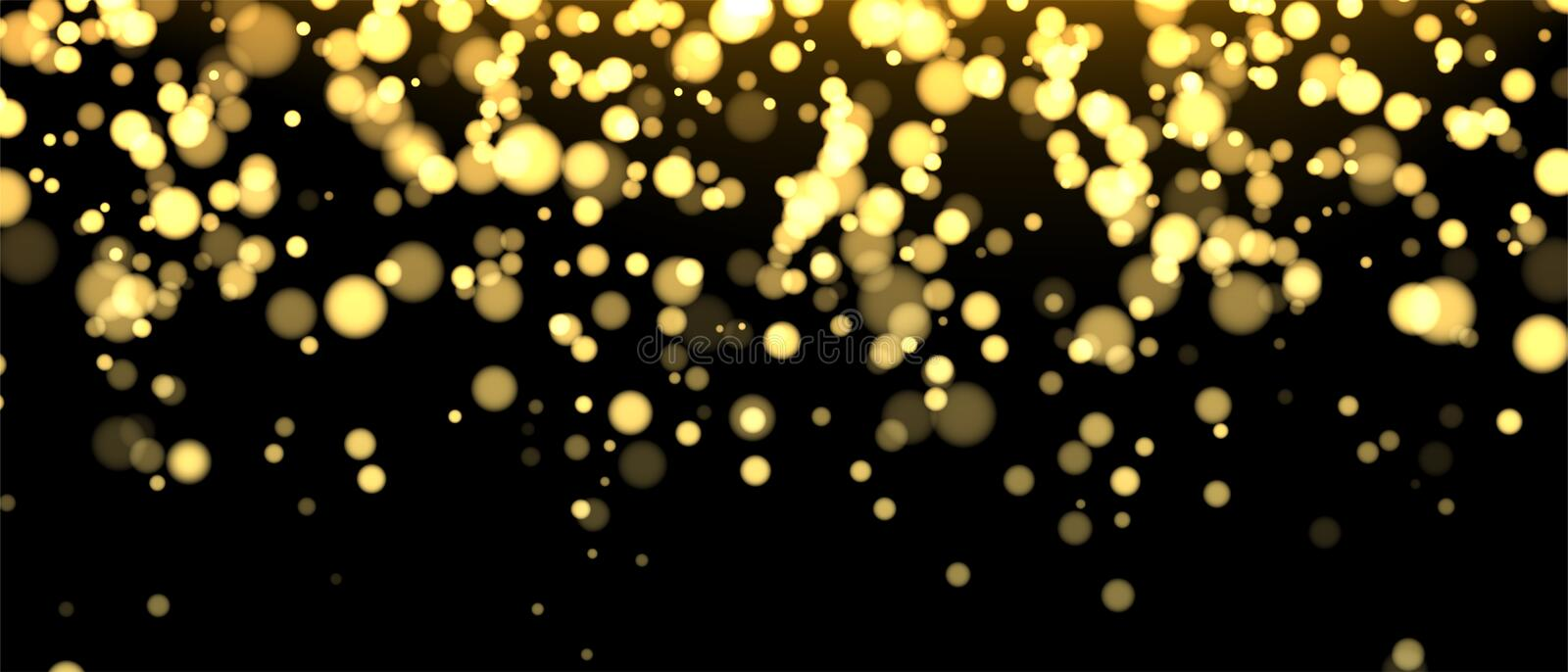 Gold blurred banner on black background. Glittering falling confetti backdrop. Golden shimmer texture for luxury design vector illustration