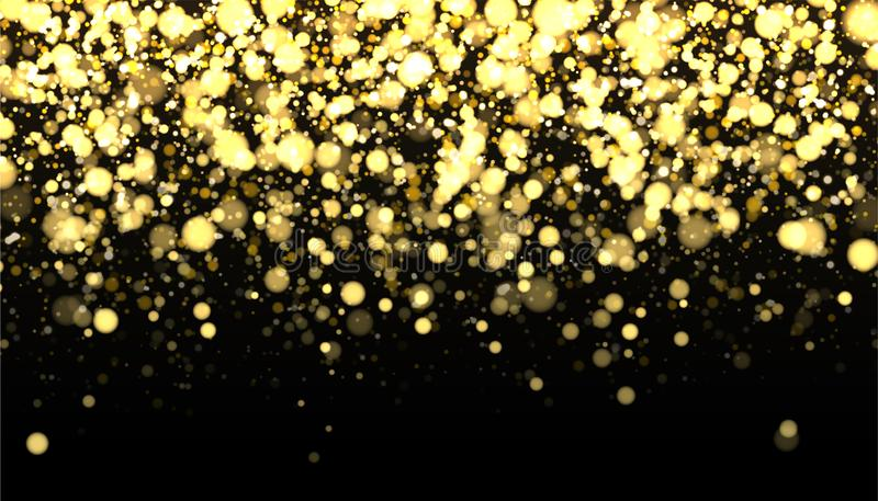 Gold blurred border on black background. Glittering falling confetti backdrop. Golden shimmer texture for luxury design. Dust abstract on dark. Vector royalty free illustration