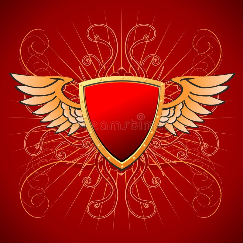 Gold board on a red background. Red with gold a winged board on an armentirovony red background stock illustration
