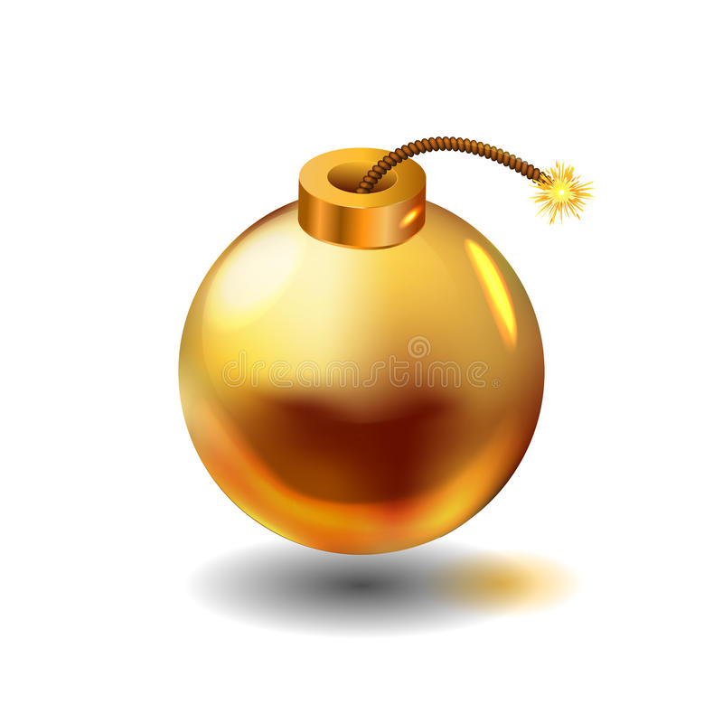 Gold bomb illustration stock illustration