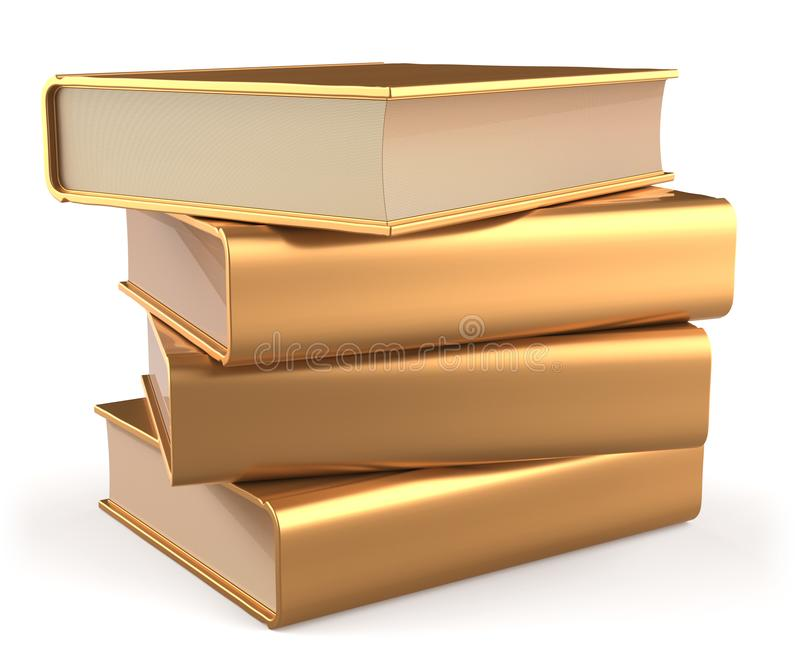Gold books blank textbook stack literature yellow golden icon stock illustration