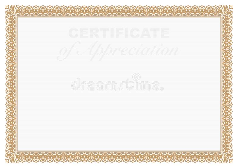 Gold Border Certificate of Appreciation with security printing vector illustration