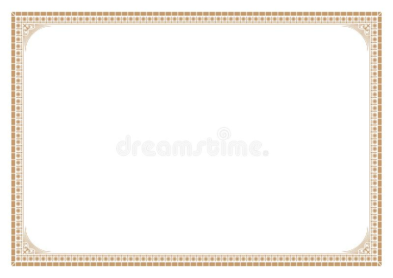 Gold Border for certificate victorian style with line stock illustration