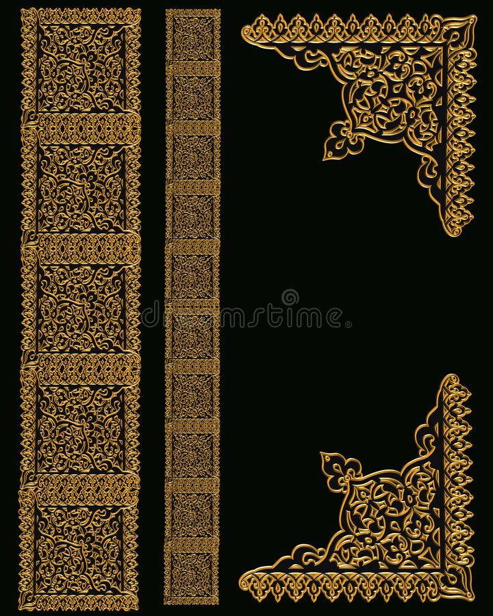 Gold Border Designs on Black stock illustration
