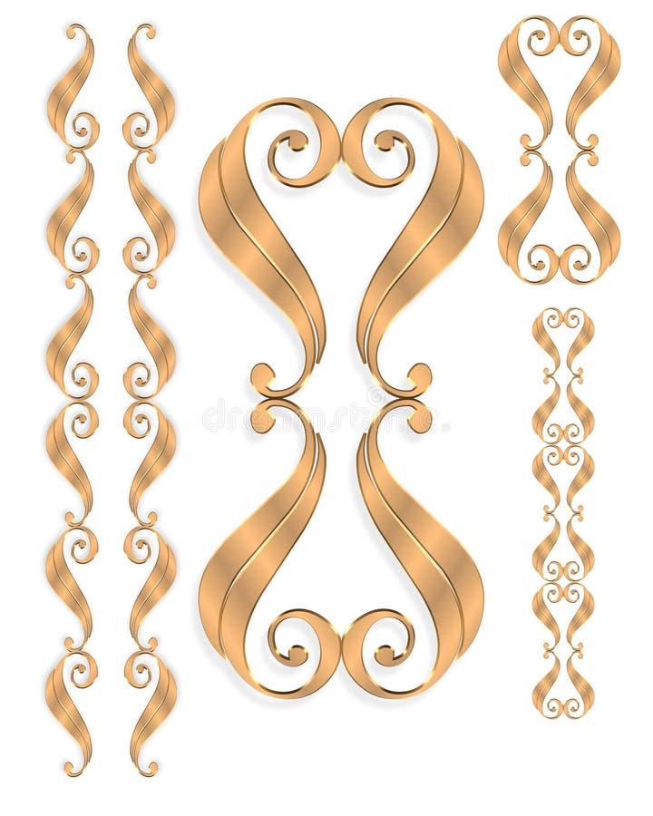 Gold border elements scrolls isolated royalty free illustration