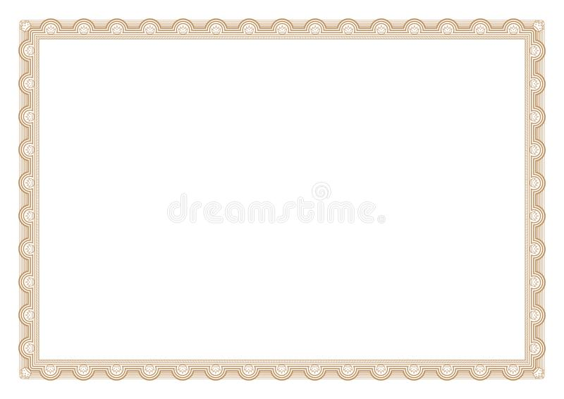 Gold Border Line Art with Crown stock illustration