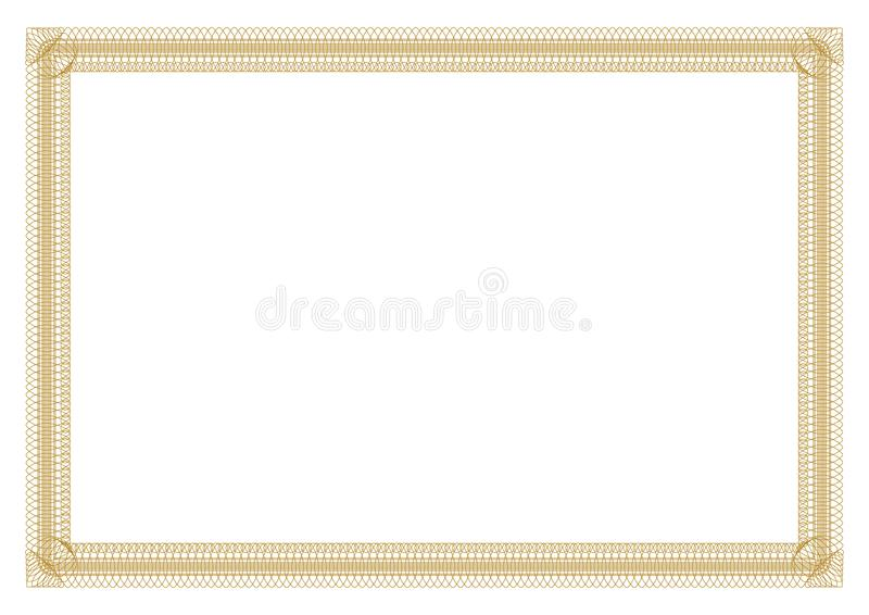 Gold Border outline styles for certificate stock image