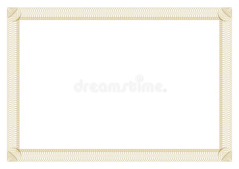 Gold Border outline styles for certificate royalty free illustration