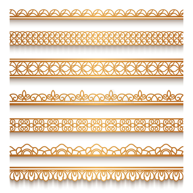 Gold border set on white stock vector. Illustration of golden - 83796116