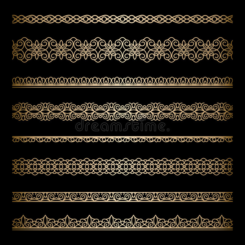 Gold borders. Set of vintage gold borders on black