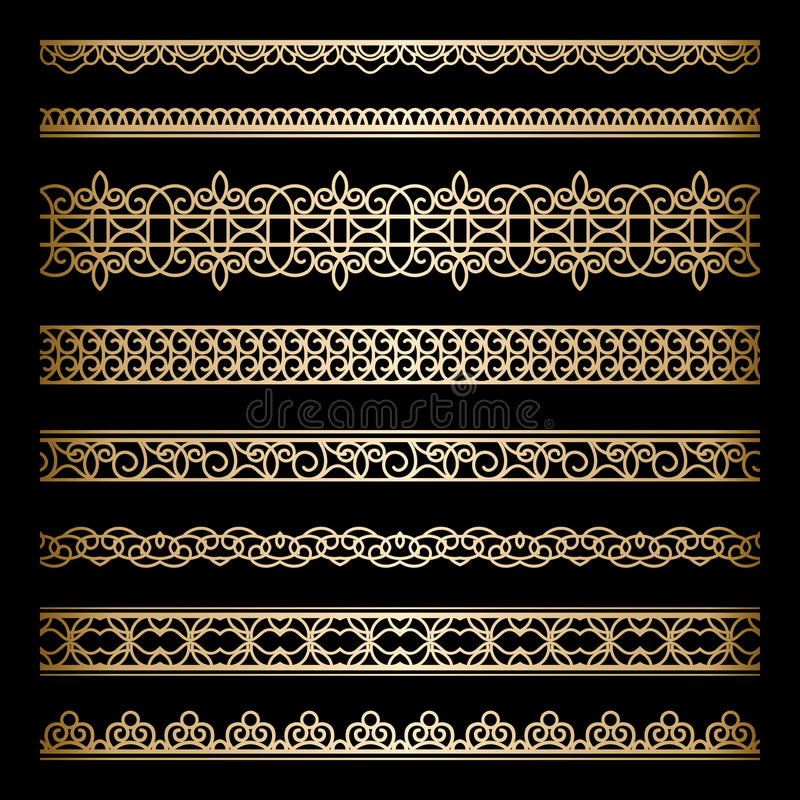 Download Gold borders set stock vector. Image of label, borders - 35642403