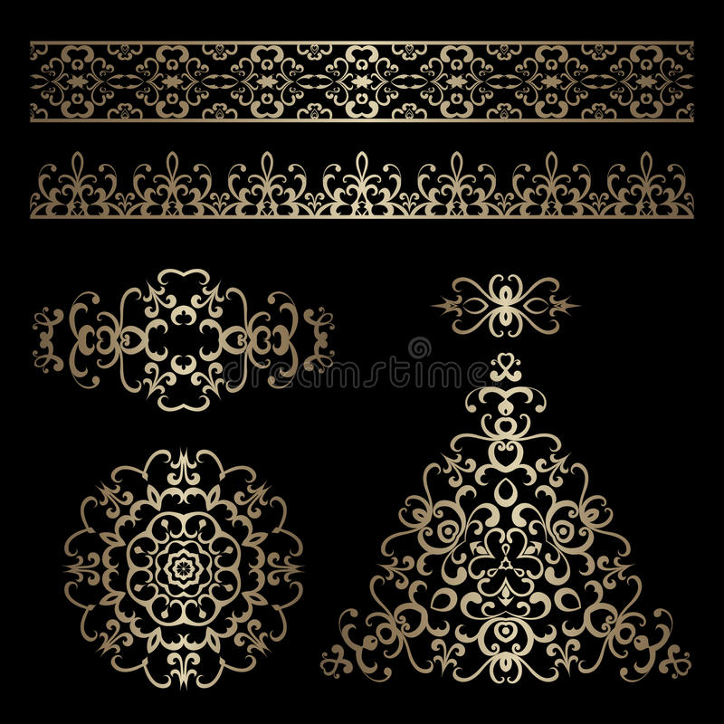 Gold borders and swirly design elements on black vector illustration