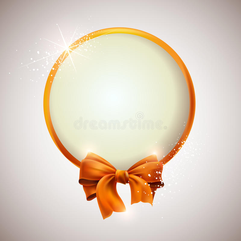 Gold bow with banner. stock illustration