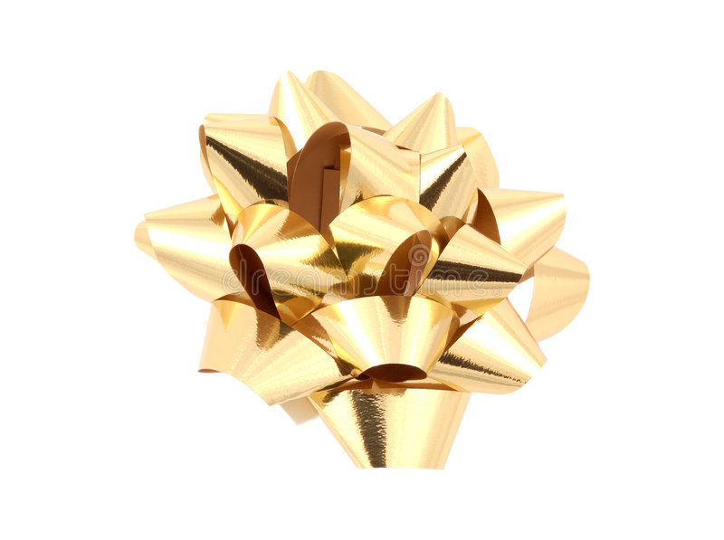 Gold Bow - Clipping Path royalty free stock photos