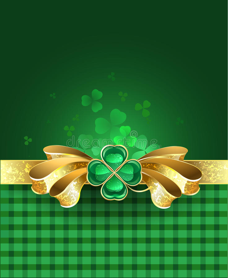 Gold bow with clover. Golden bow with a brooch in the form of a clover with four leaves on a green plaid background vector illustration