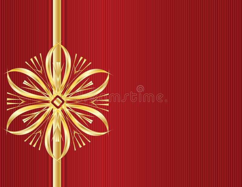 Gold bow design on red line ba royalty free illustration