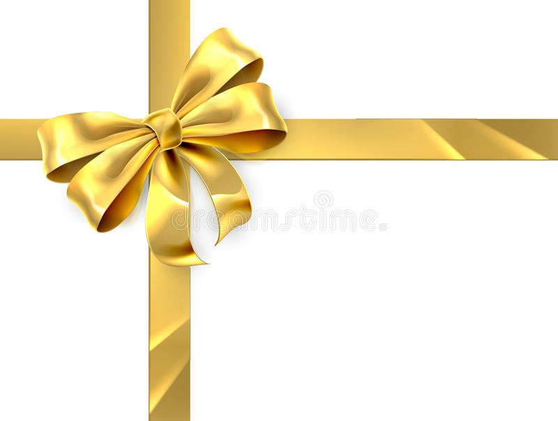 Gold Bow Gift. Christmas, birthday or other gift gold golden ribbon and bow wrapping background stock illustration