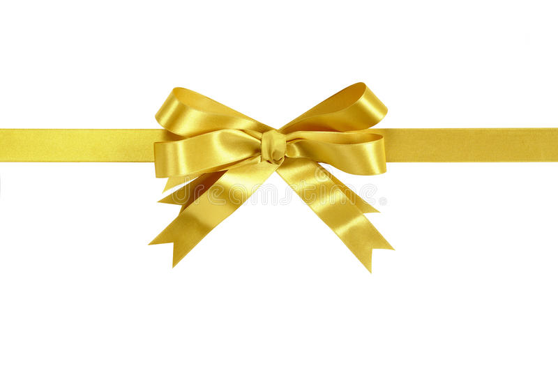 Gold bow gift ribbon straight horizontal royalty free stock photos