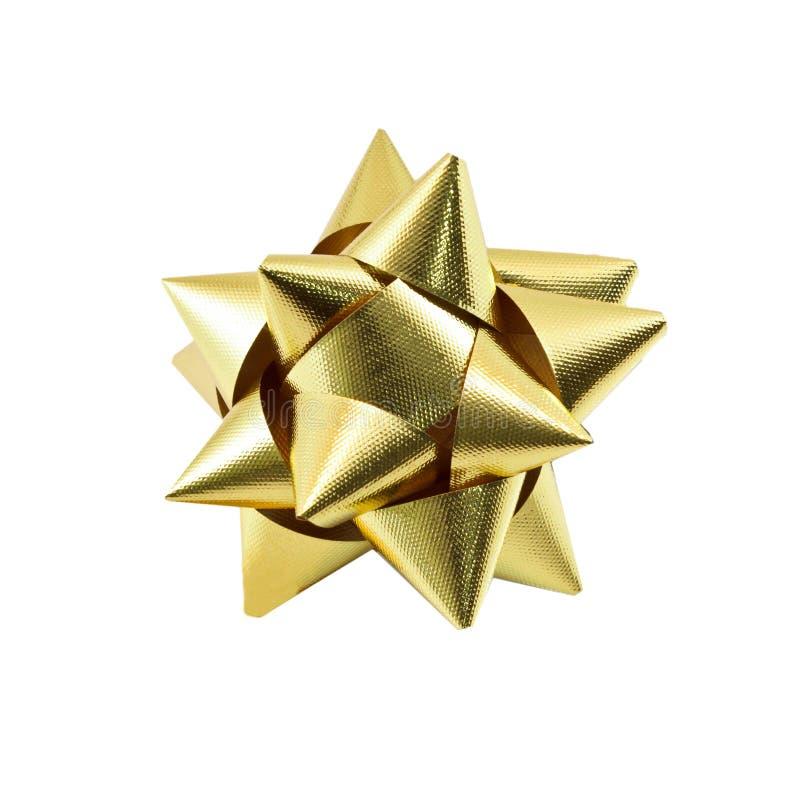 Gold bow. On white background royalty free stock photos