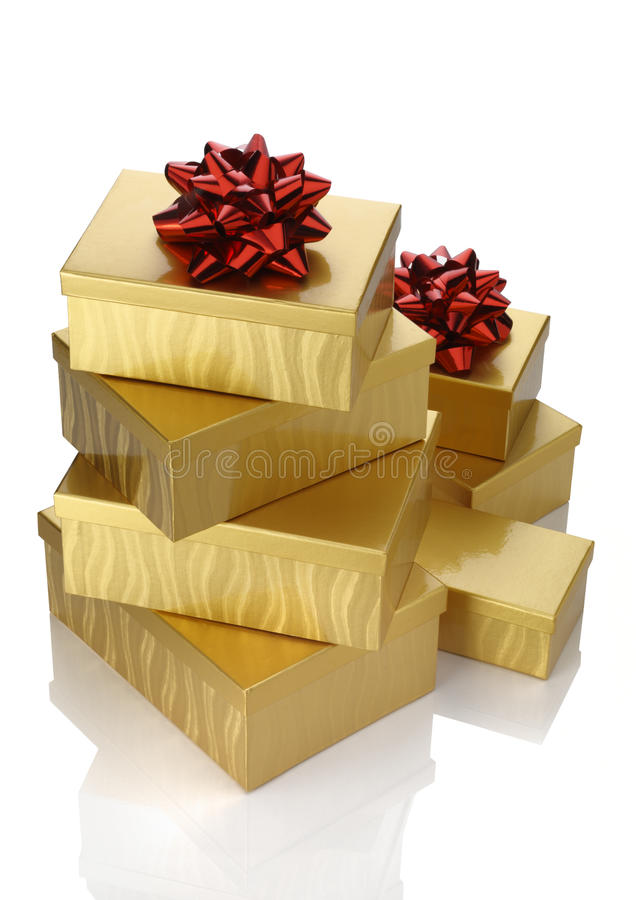 Download Gold Boxes Red Bow stock image. Image of birthday, surprise - 16821237