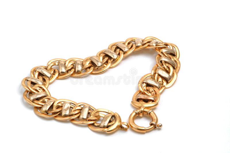 Gold bracelet in heart. Isolated royalty free stock images