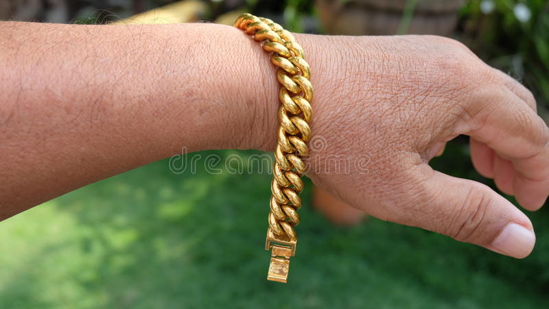 Gold Bracelet. Is a one of the expensive jewelery stock photography