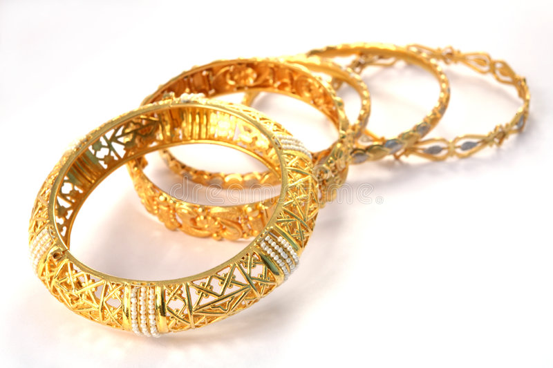 Gold bracelets 8 stock images