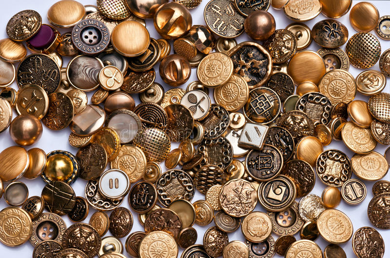 Gold and Brass Buttons stock image