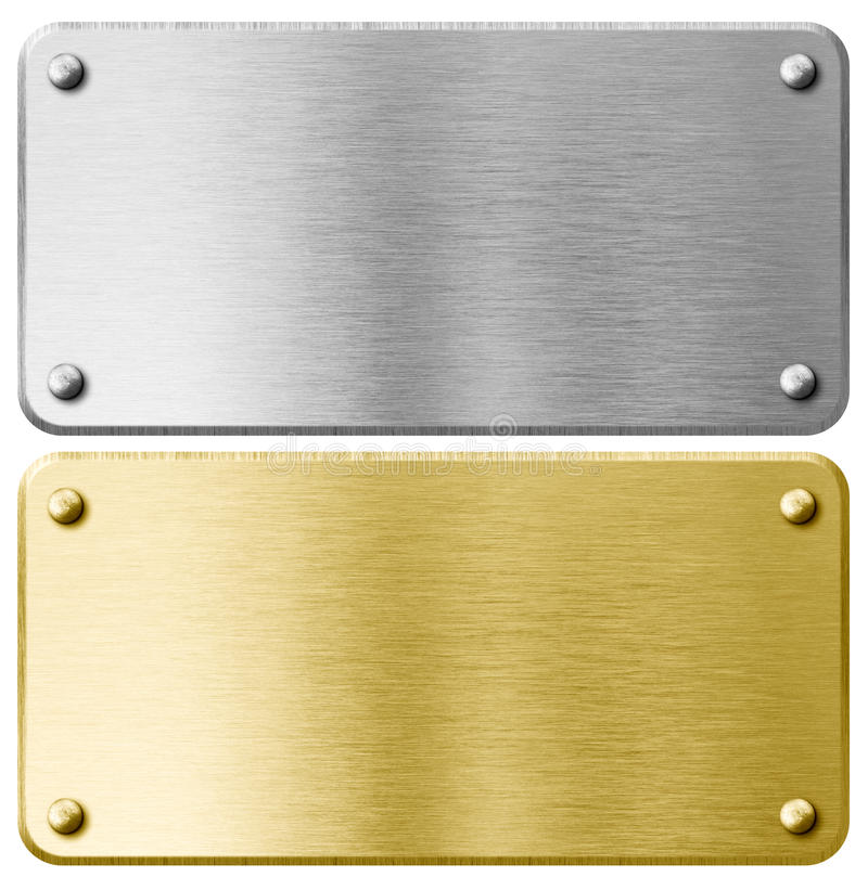 Gold or brass metal plaque with rivets isolated stock image