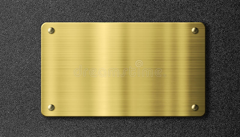 Gold or brass sign metal plate royalty free illustration