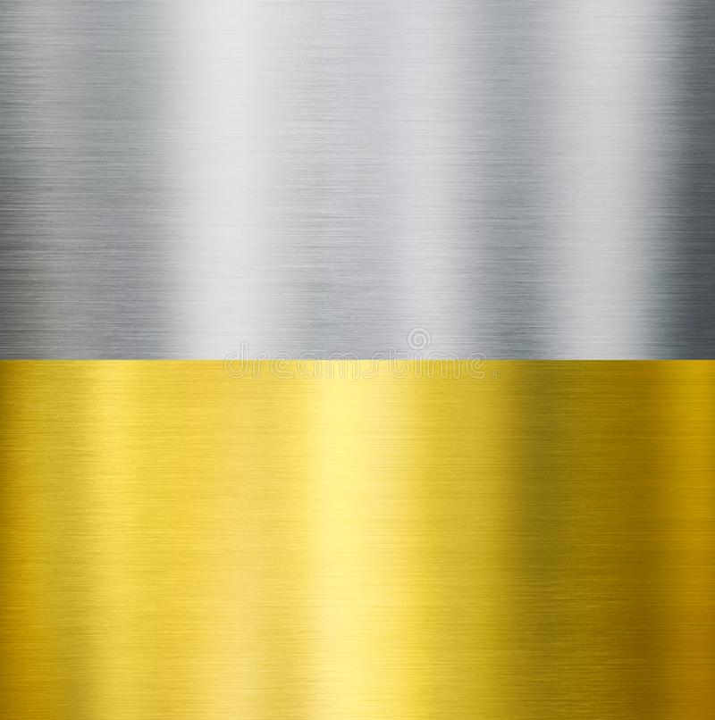 Gold and silver metal brushed textures. Gold or brass and silver metal brushed texture royalty free stock image