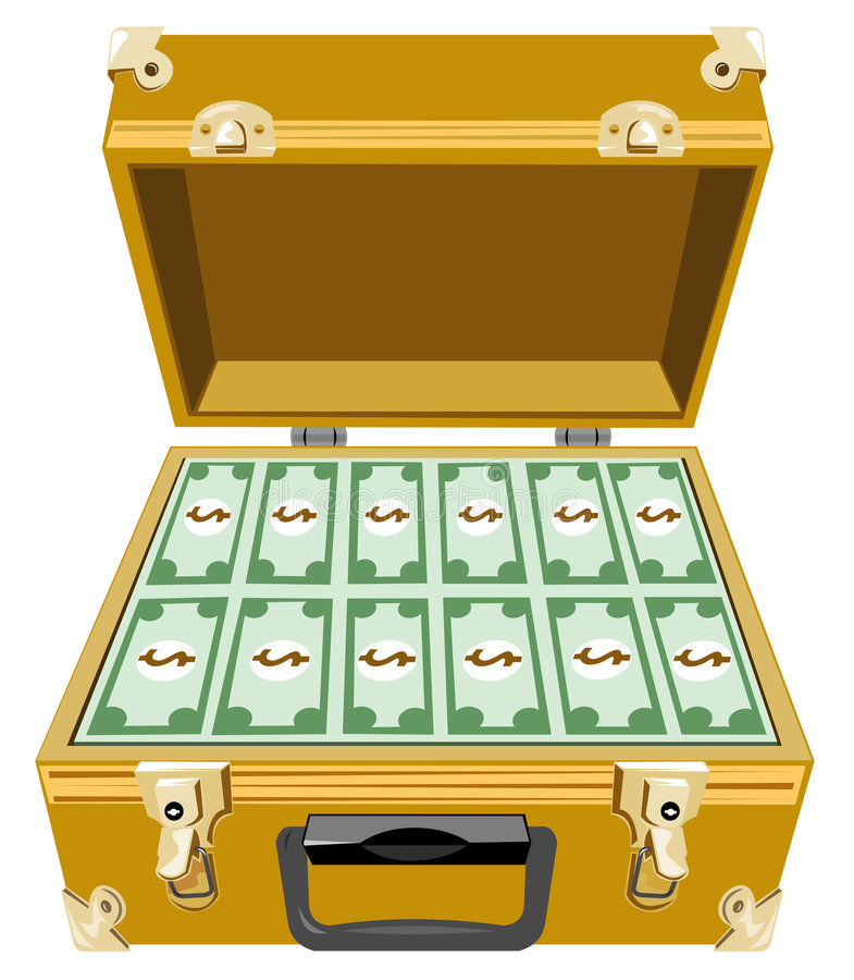 Download Gold briefcase with money stock vector. Illustration of attache - 4610841