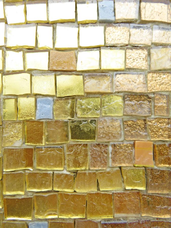 Gold, Bright and Colorful Square Mosaic. Beautiful Mosaic, Background of Mosaic. For Your Design, Templates, Postcards, Decoration stock image