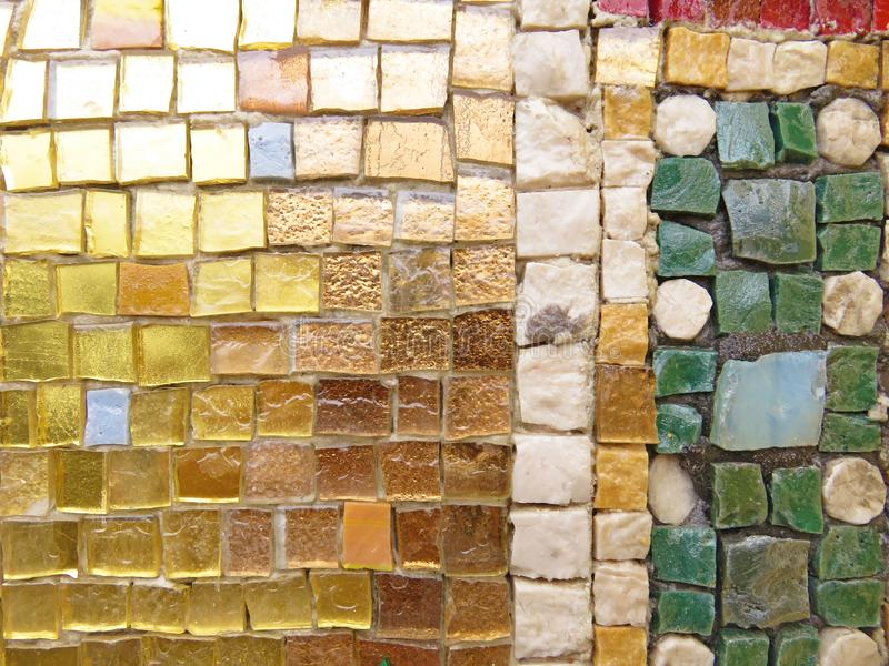 Gold, Bright and Colorful Square Mosaic. Beautiful Mosaic, Background of Mosaic. For Your Design, Templates, Postcards, Decoration royalty free stock photography