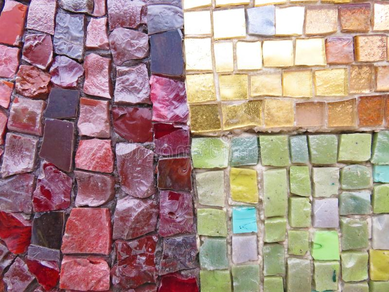Gold, Bright and Colorful Square Mosaic. Beautiful Mosaic, Background of Mosaic. For Your Design, Templates, Postcards, Decoration royalty free stock photos
